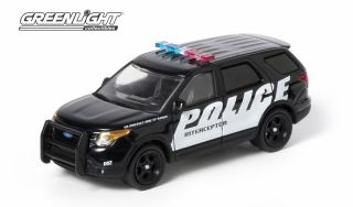 GREENLIGHT COLLECTIBLES 1 64 BLACK WHITE 2013 FORD POLICE INTERCEPTOR
