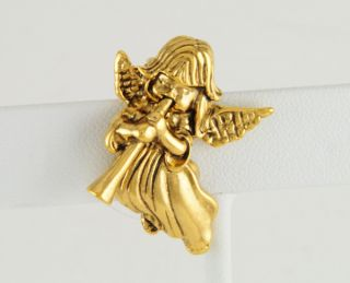 14kt Yellow Gold EP Child Heralding Angel Pin Brooch w Horn