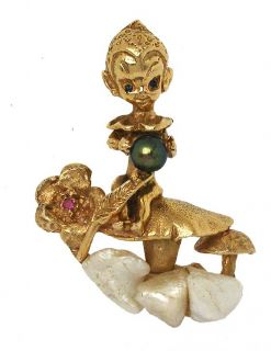 Signed 14k Gold Pearls Ruby Diamond Angel Chaerub Pin Brooch