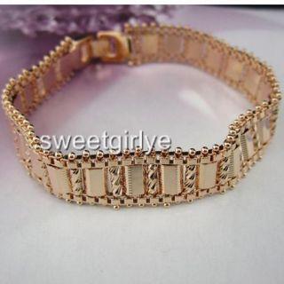 18K Rose Gold Filled Mens Bracelet Watch Chain 7 5Link GF Jewelry