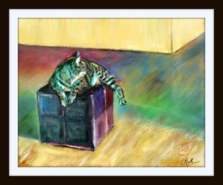 Fat Cat on Cube Original Art 16x20 Print Red Blue Turquoise Green