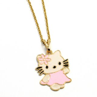 Gold 18K GF Pink Enamel Pink Pastel Hello Kitty Girl Teens Pendant