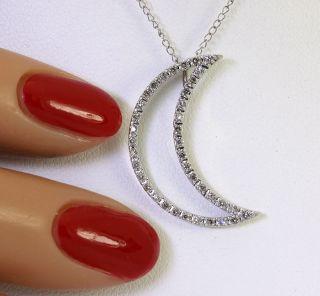 40CT DIAMOND 14K WHITE GOLD CRESCENT MOON PENDANT CABLE CHAIN NECKLAC