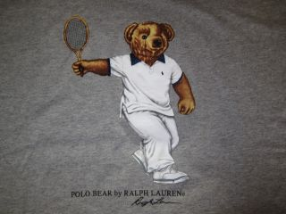 Polo Bear Ralph Lauren Gray Tennis Shorts T Shirt XXL 2XL