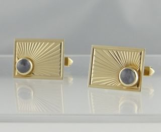 Mens 14k Gold Blue Star Sapphire Cufflinks Cuff Links