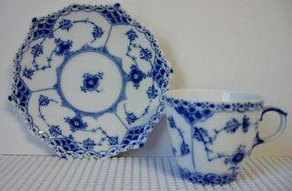 Royal Copenhagen Blue Fluted Demitasse Cup Saucer Set s Full Lace 1