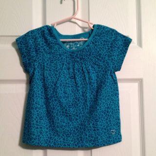 Childrens Place Baby Toddler 4T Girls Blue Leopard Cheetah Shirt Top