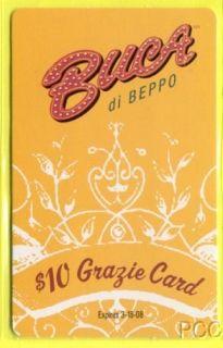 Buca Di Beppo Grazie 2008 Promotional Gift Card