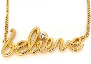 Disney Couture Gold Curly Believe Word Necklace