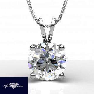 VS SOLITAIRE DIAMOND PENDANT ROUND 14K 18K WHITE GOLD NECKLACE JEWELRY