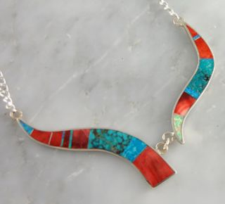 Zuni Harold Smith Sterling Silver Inlay Necklace Turquoise Opal Spiny