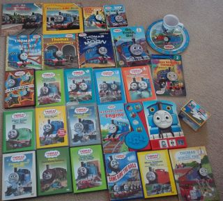 Thomas The Train Friends Lot of 27 DVDs Books Plate Cup Harold