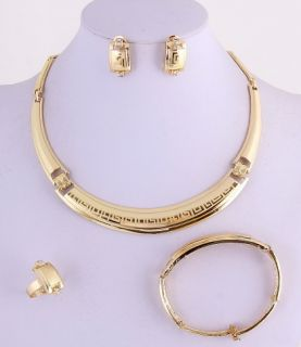Gold Plated Necklace Bracelet Earring Ring Set No 11