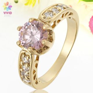 Round Cut Pink Sapphire Yellow Gold Plated Xmas Jewelry Ring 8