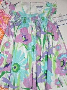 New Hartstrings Girls Pink Blue Cotton Flowers Floral Dress Size 2T 3T