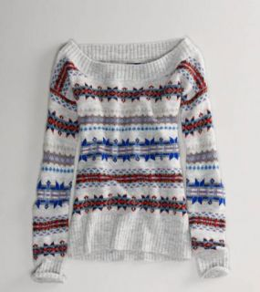 New AE American Eagle Outfitter Sexy Fair Isle Off Shoulder Sweater s