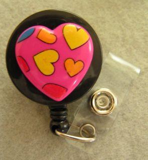 Pink Multicolor Heart ID Badge Holder RETRACTABLE Reel Swivel