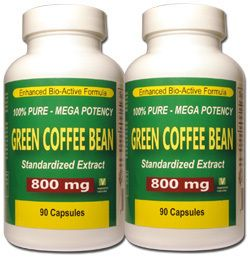 100 Pure Green Coffee Bean Extract Mega Strength 800 MG 180 Caps