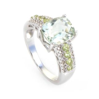 10K White Gold Diamond Green Amethyst Ring
