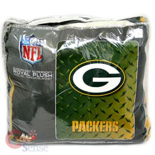 Green Bay Packers Twin Plush Blanket Iron Logo 60x80