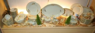 Japan Norleans Meito Midas Golden Wheat China Dinnerware Set 83 PC