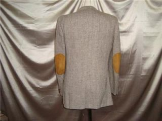 40L 40 L Harris Tweed Wool Blazer Vtg Mod Hacking Suede Leather Elbow