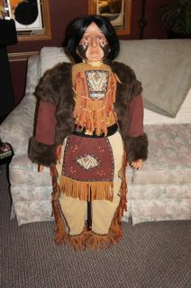 INDIAN DOLL PORCELAIN   GOLDENVALE COLLECTOR DOLL 46 tall HUGE Native