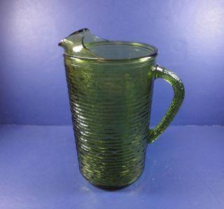 Green Glass Soreno Pattern Tea Pitcher
