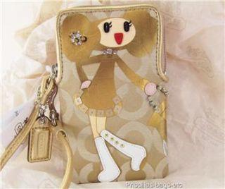 Coach Poppy Chan Goldy Signature GD Universal Case Wristlet Bag Purse
