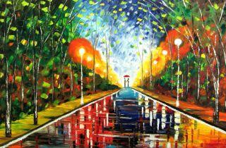 Park Original Oil Painting Malorcka Palette Knife Rain Couple Green