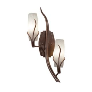 Kalco Napa Two Light Wall Sconce with Snowflake Glass Shade in Golden