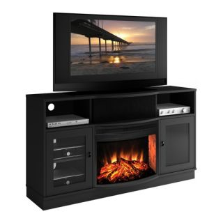 Contemporary 64 TV Stand with Curved Electric Fireplace