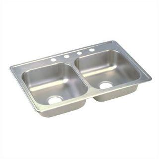 Elkay Dayton 33 x 21.25 Top Mount Stainless Steel Double Sink Set