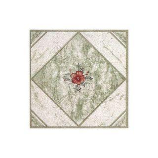 Dynamix Vinyl Light Green/ Red Flower Floor Tile (Set of 20)