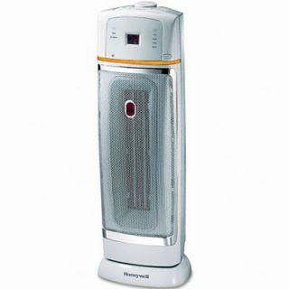 1500W Oscillating Ceramic Heater, 9 3/8 x 9 1/2 x 22 3/4, Chrome/Gray