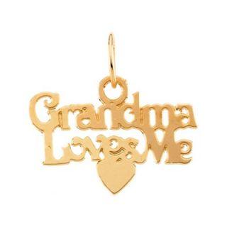 Jewelryweb 14k Child Grandma Loves Me Pendant15 In Chain 9.25x15mm