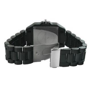 Peugeot Womens Swarovski Elements Bezel Watch in Black Acrylic