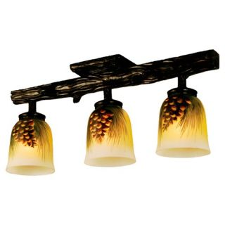 Light Rustic Northwoods Pinecone Three Light Han