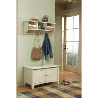 Alaterre Shaker Cottage Entryway Storage Bench and Coat Hooks
