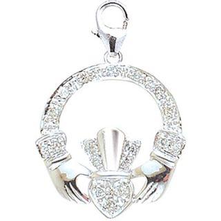 EZ Charms 14K White Gold Diamond Irish Claddagh Charm