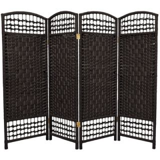 Oriental Furniture Fiber Weave 4 Panel Room Divider in Dyed Black