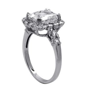 Palm Beach Jewelry Sterling Silver Octagon Shaped Cubic Zirconia Ring