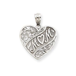 Jewelryweb 14k White Gold Mom Heart Pendant   QTP108597NC