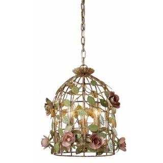 Sterling Industries 3 Light Cage Bird Pendant   123 006