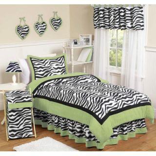 Sweet Jojo Designs Lime Funky Zebra 4 Piece Twin Bedding Set   Zebra