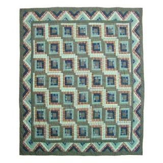 Patch Magic Green Log Cabin Twin Quilt