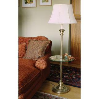 House of Troy Newport Floor Lamp in Antique Brass with Glass Table