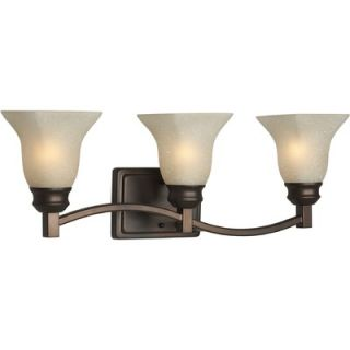 Forte Lighting Three Light Vanity Light with Umber Linen Shade