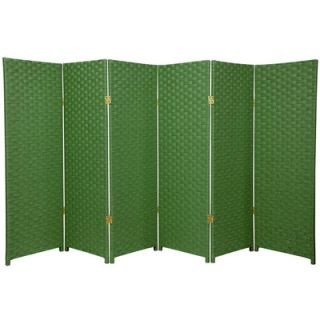 Oriental Furniture Woven Fiber 6 Panel Room Divider in Light Green
