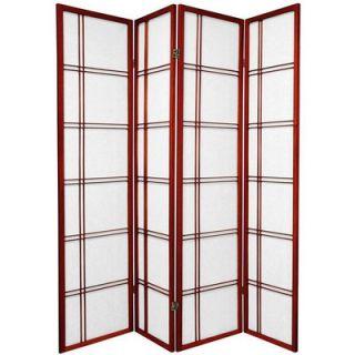 Oriental Furniture Double Cross Shoji Screen in Rosewood   SSCDBLX